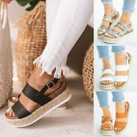 US Ladies Sandals Open Toe Buckle Ankle Strap Espadrille Sandal Comfoty Shoes DD