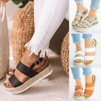 Summer Women Lady Sandals Open Toe Buckle Ankle Strap Espadrille Sandal Shoes