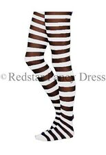 LADIES BLACK AND WHITE STRIPED TIGHTS SKELETON HALLOWEEN FANCY DRESS ADULTS