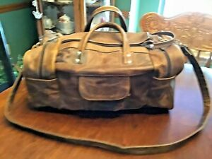 HANDMADE BROWN DISTRESSED LEATHER DUFFLE CARRY ON BAG OVERNIGHT BAG MEXICO