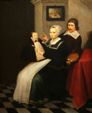 """oil painting handpainted on canvas""""the artist and his family"""" N12590"""