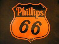 OLD VINTAGE PHILLIPS 66 GASOLINE STATION PORCELAIN PUMP SIGN   GAS MOTOR OIL