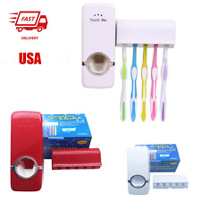 Bathroom Automatic Toothpaste Dispenser+5 Toothbrush Holder Set Wall Mount Stand