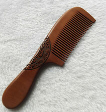 "7.7"" Unisex Good Carved Pattern Old Peach Wood Handheld Massage Comb"