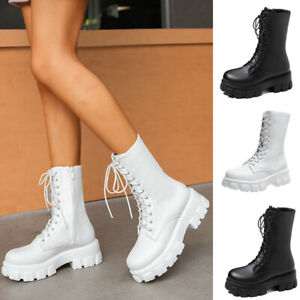 Women British style Gothic Punk Ankle Boots High Heel Round Toe Zip Lace Up Shoe