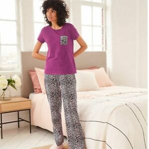AVON Purple Leopard Print Pjs Pyjamas Size Medium  12-14 New in pack (K)