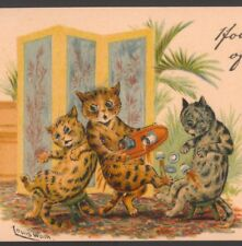 "LOUIS WAIN.. CAT WAITER SPILLS COFFEE,TEA AT PARTY,TUCK ""WRITE AWAY"" POSTCARD"