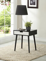 Side End Nightstand Table with Drawer Wood Black Walnut Espresso or White Color