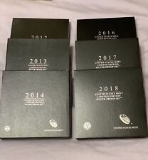 Run Of 6 Sets Limited Edition Silver Proof Sets 2012-2018