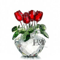 H&D Handmade Red Sparkle Crystal Rose Figurine Glass Xmas Wedding Gift Ornaments
