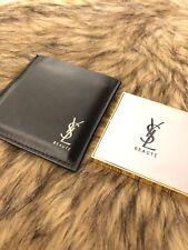 NEW YSL Saint Laurent Beaute Gold Makeup Purse Compact Pocket Mirror Black Case
