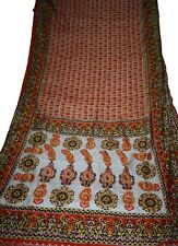 Indian Culture Vintage Saree Pure Silk Orange Sari Fabric Floral/Peacock Print