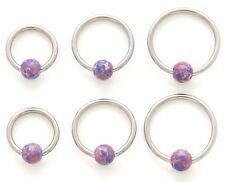 New Surgical Steel Semi Precious Lavender Agate Captive Bead Ring Hoop 16g