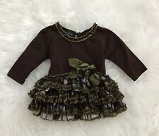 ISOBELLA & CHLOE Baby Girl Brown & Green Tulle Dress Size 3 Months