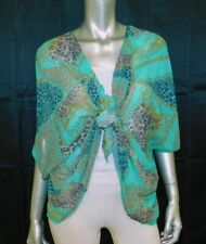 SWEET PEA STACY FRATI NEW Green Print Semi-Sheer V-Neck Tie Front Blouse sz XL