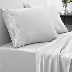 {1000-TC} 1-Piece Flat (Top) Sheet Super Soft Egyptian Cotton Silver Color