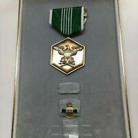 US Army Commendation Medal Set White Green Lapel Pin Ribbon Original Box Case