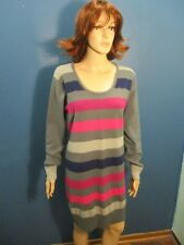 Plus Size 3X multi-color STRIPED ZIP UP SWEATER dress by SAY WHAT?