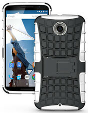 WHITE GRENADE GRIP RUGGED TPU SKIN HARD CASE COVER STAND FOR MOTOROLA NEXUS 6
