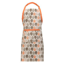 Orange Leaf Apron Cotton Kitchen Butcher Chefs Cooking BBQ Halter Bib Pocket