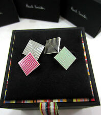 Paul Smith Cufflinks 4 COLOUR DECO GEOMETRIC PATTERN with SIGNATURE Backs