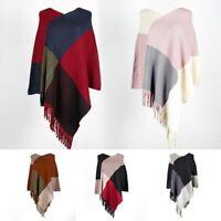 Women Cloak Tassels Knit Sweater Batwing Poncho Pullover Coat Autumn Outwear Top