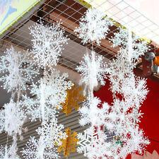 30 Stk 11cm Kunststoff Weiß Schneeflocken Weihnachten Xmas Baum Dekor Ornaments