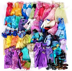 Huge DISNEY PRINCESS Doll Clothes Dress Gown LOT Tiana Jasmine Ariel Belle Auror