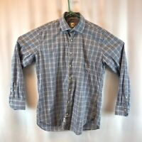 Peter Millar Mens Button Front Shirt Blue White Plaid Long Sleeve Pocket L