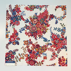 """B. Berger by Duralee Designer Fabric Sample, 26"""" x 26"""" in Berry, Flame, Apricot"""