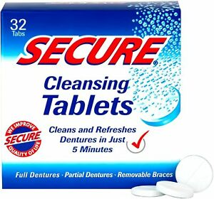 2xSecure - Secure Denture Cleansing Tablets 32 tabs, Clearance for Damaged Box