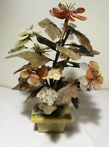 Vintage China Export Jade stone bonsai Tree yellow Stone Base 1950S