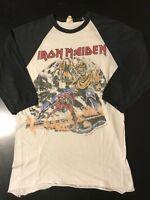 VTG 80s 1982 Iron Maiden Number Beast World Tour Baseball T-Shirt Metal Rock