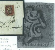 GB Cover 1d Red ex BLACK PLATE V(CC) State III Weak Check Letter Hants 1841 V13a