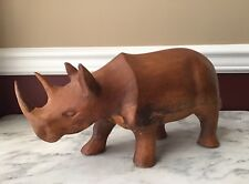 Heavy Wooden Rhinoceros, 14 inches wide,
