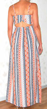 NEU*AMISU*(New Yorker) Modisches Sommerkleid Maxikleid Kleid Gr.S/36 orange-blue