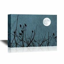 wall26 - Canvas Wall Art - Birds on Top of Tree Branches with Full Moon - 24x36