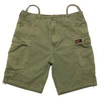 Superdry Mens Core Cargo Shorts Light Olive Surplus Stock 32W