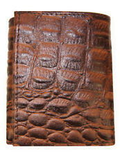 Crocodile Embossed Credit Card ID Cowhide Leather Brown Men's Trifold Wallet