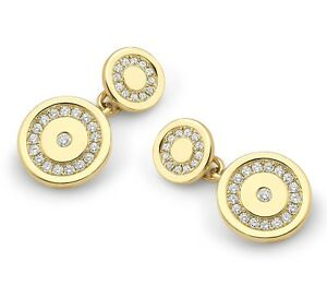 1.38ct DIAMOND 14K SOLID GOLD CUFF LINKS IN YELLOW ROSE AND WHITE gold OPTIONS