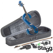 NEW Stagg EVA 4/4 Full Size S Shape Electric Viola - Metallic Blue w/ Case, Bow