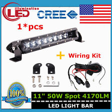1x 11inch 50W 4D Optical LED Single Row Light Bar Spot Offroad Ford+Wiring Kit