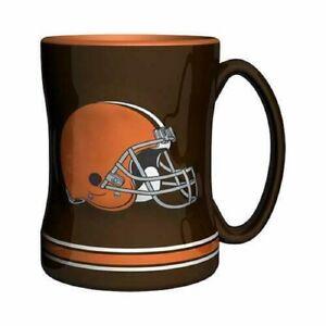 Cleveland Browns 14 oz Team Color Sculpted Logo Relief Coffee Mug  - NEW