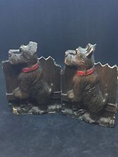 Vintage Scottie/Scottish Terrier Dog Wood-Look Bookends, Shabby Chic, Retro