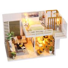 DIY Wooden Dolls House Miniature Kit Cover LED Light Dollhouse Furniture Gift UK