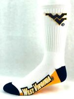 West Virginia Mountaineers NCAA White Navy Yellow Crew Socks