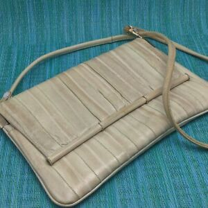 Vtg Eel Skin Crossbody Shoulder Bag Convertible Clutch Handbag Suede Lined Taupe