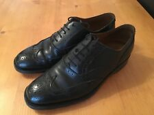 Mens Grenson Black Leather Brogue Shoes - Size 8