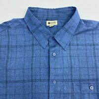 Haggar Button Up Shirt Men's 2XL XXL Short Sleeve Blue Plaid Casual Polyester