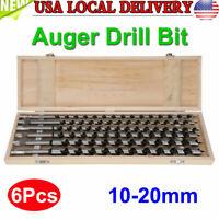 6 Pcs Woodworking Auger Bit Set 10/12/14/16/18/20mm Wood Drill Bits w.Box